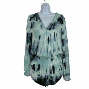Cloth & Stone Tie Dye Romper Shorts XS Long Sleeve